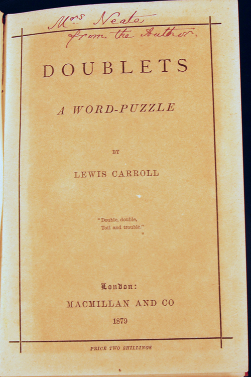 Doublets: a word-puzzle. Lewis CARROLL, Charles Lutwidge Dodgson.