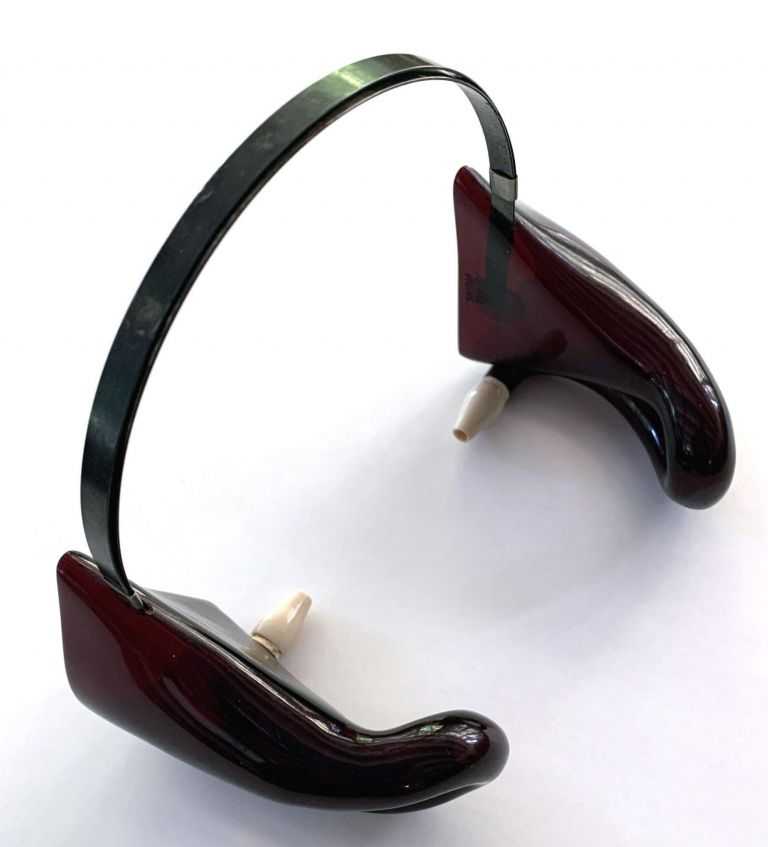Hearing aid. Aurolese Phone or Double Cornet with Bone Ear Pieces in Tortoiseshell. Instrument.