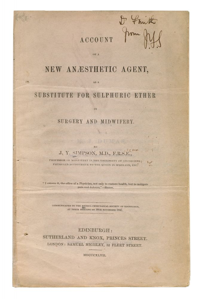Account of a new anaesthetic agent, substitute for sulphuric ether in surgery and midwifery. James Young SIMPSON.