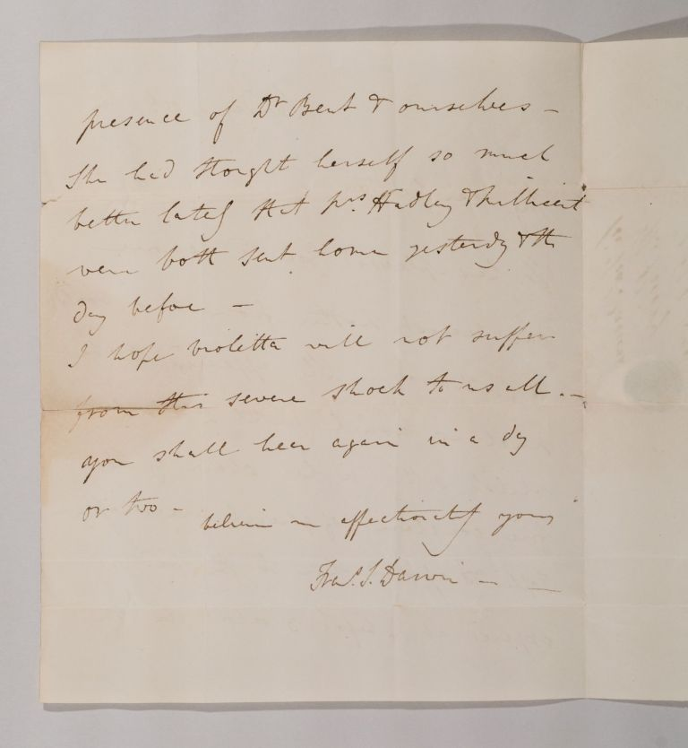 ALS [Letter by Francis Darwin, announcing the death of his mother]. Francis DARWIN.