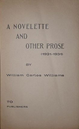 A novelette and other prose (1921-1931). To publishers