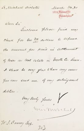 MANUSCRIPT. Four notes in secretarial hand, to Mitchell's lawyer.