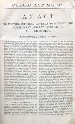 United States Tax Law of 1862. Albany Evening Journal edition.