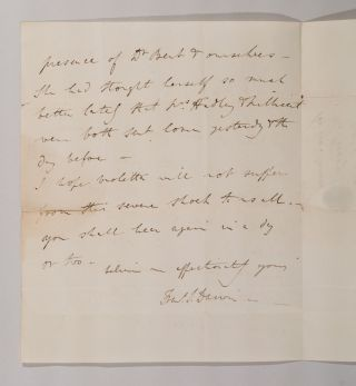ALS [Letter by Francis Darwin, announcing the death of his mother]. Francis DARWIN
